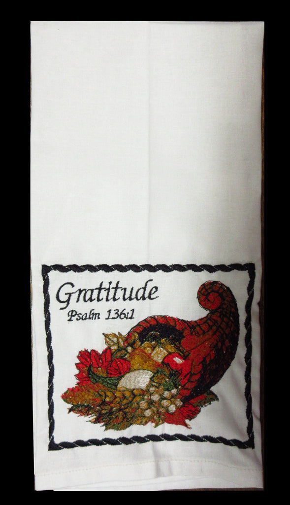 Gratitude Cornucopia Embroidered Cotton Towel