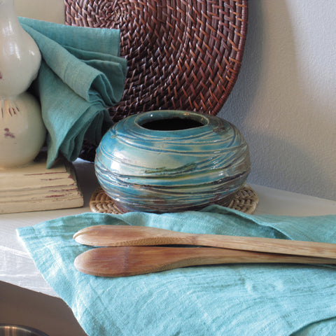 Set of 2 Hand-Dyed Aqua 100% Linen Towels or Napkins