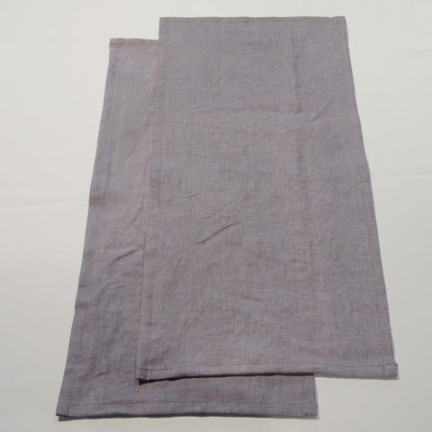 hand-dyed lavender linen towel -  set of 2