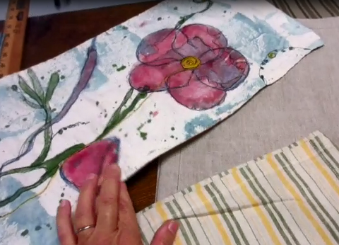 Hand Painted Flower Art Towel