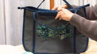 Grey Linen Project Bag with Applique Design by Haley Brianna Atwell