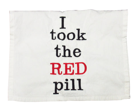 I Took the Red Pill Embroidered Cotton Towel