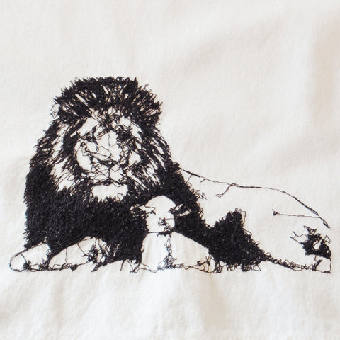 Lion and Lamb Embroidered Cotton Towel by Konnie Laumer