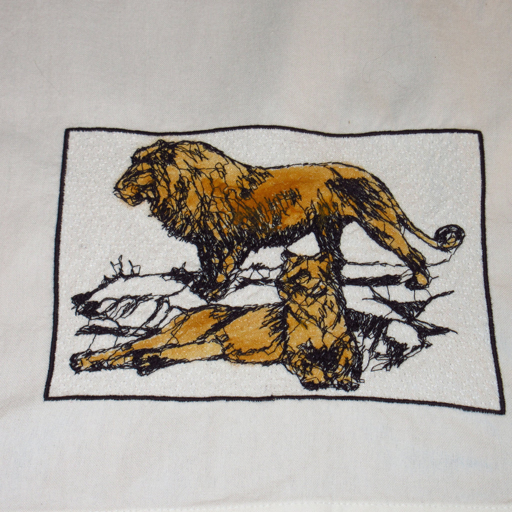 Lions on Rocks Embroidered Cotton Towel