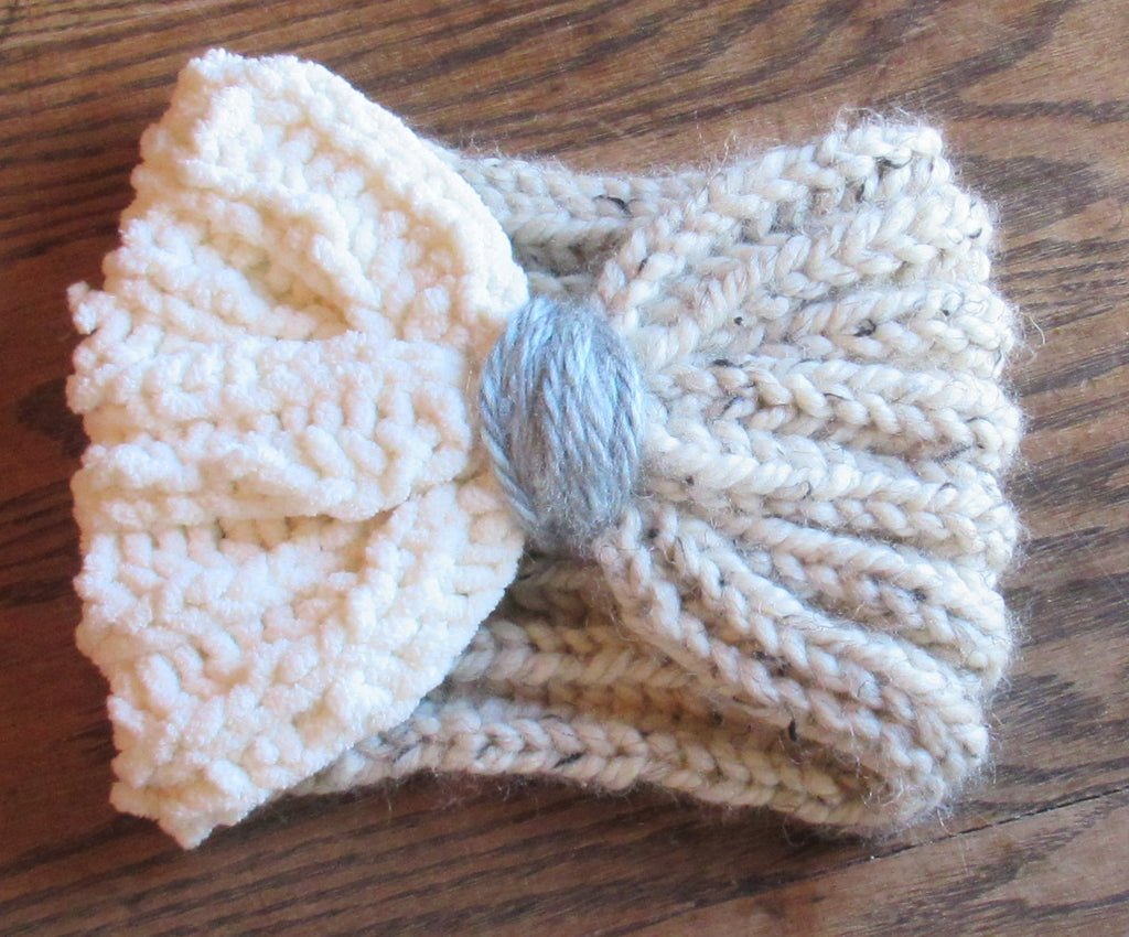 hand knitted multi ear warmer or messy bun hat