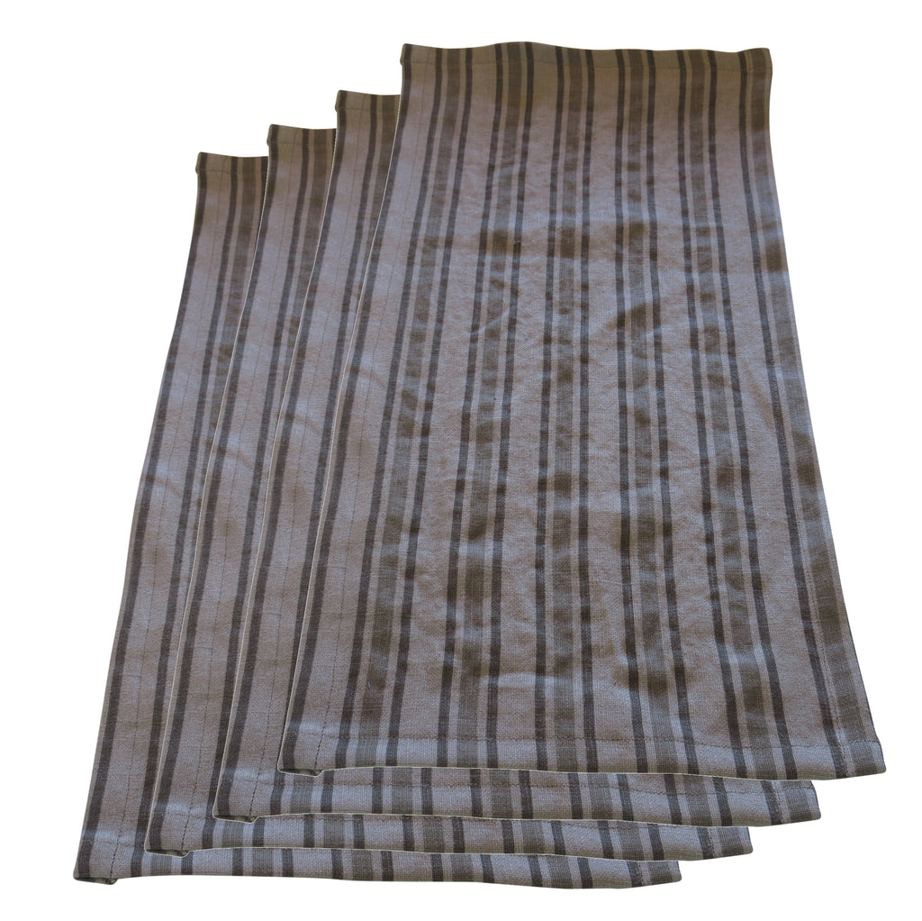 Set of 4 Khaki Green Grey Neutral Stripe Linen Towels Napkins or Place Mats