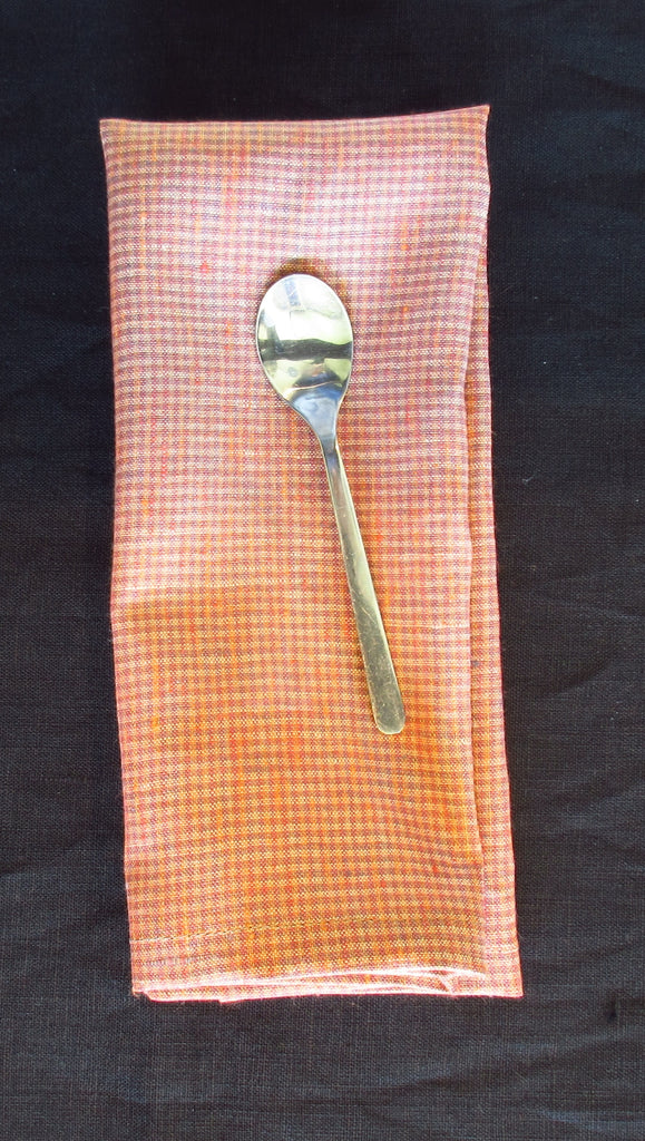 Set of 4 Rusty Orange and Lavender Stripe Linen Towels or Napkins