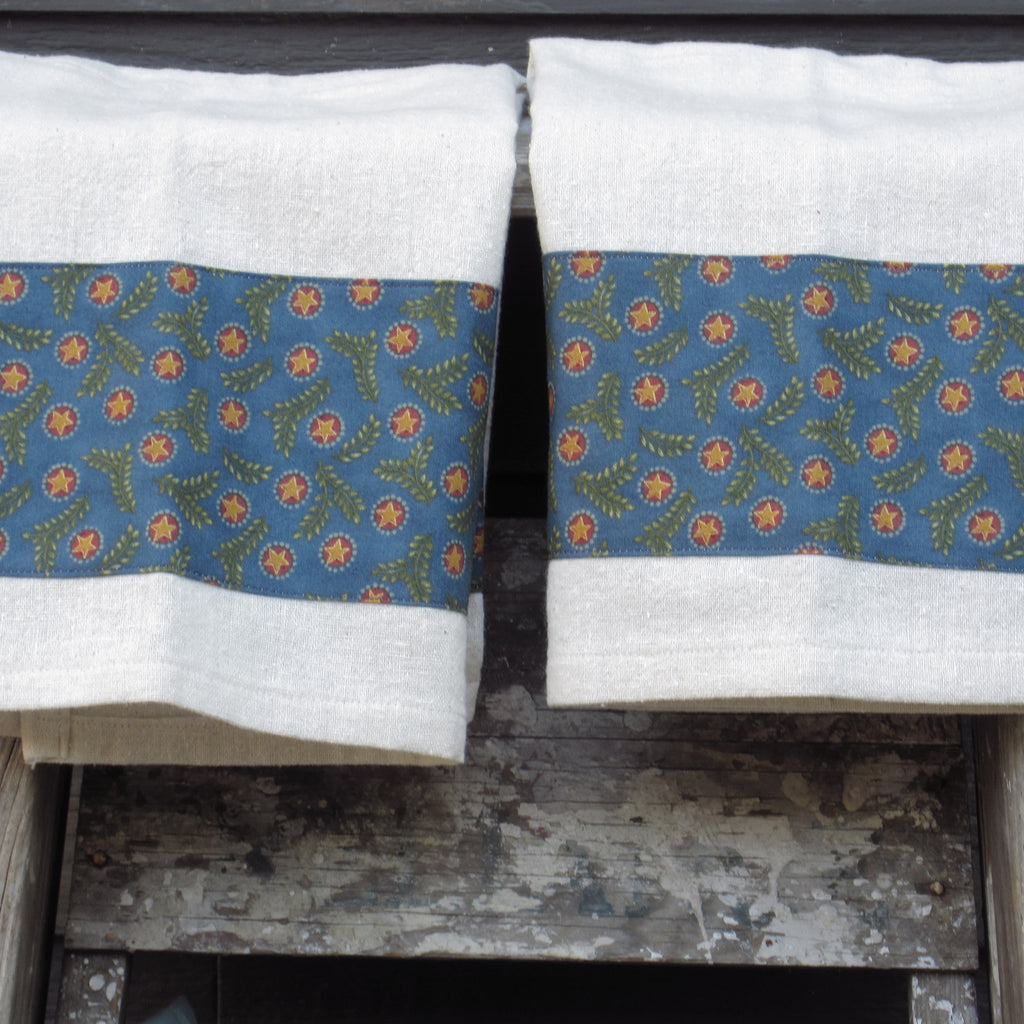 Set of 2 Osnaburg with Aqua Print Band Cotton Towels