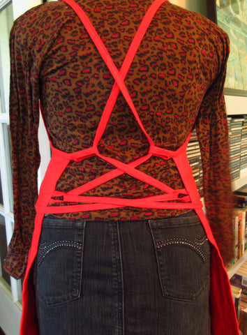 The Corsetted Red Linen Apron by Erin Murphy
