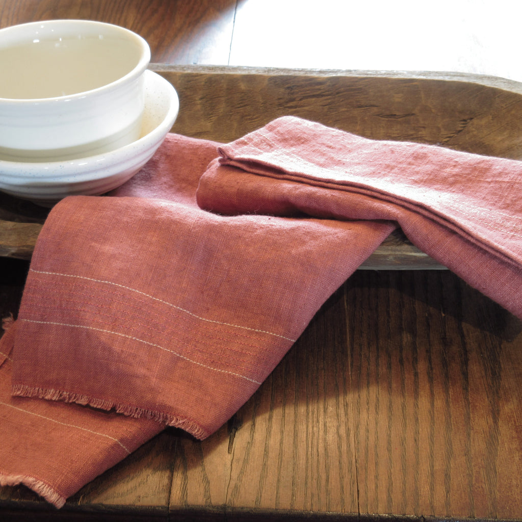 coral red linen towel set