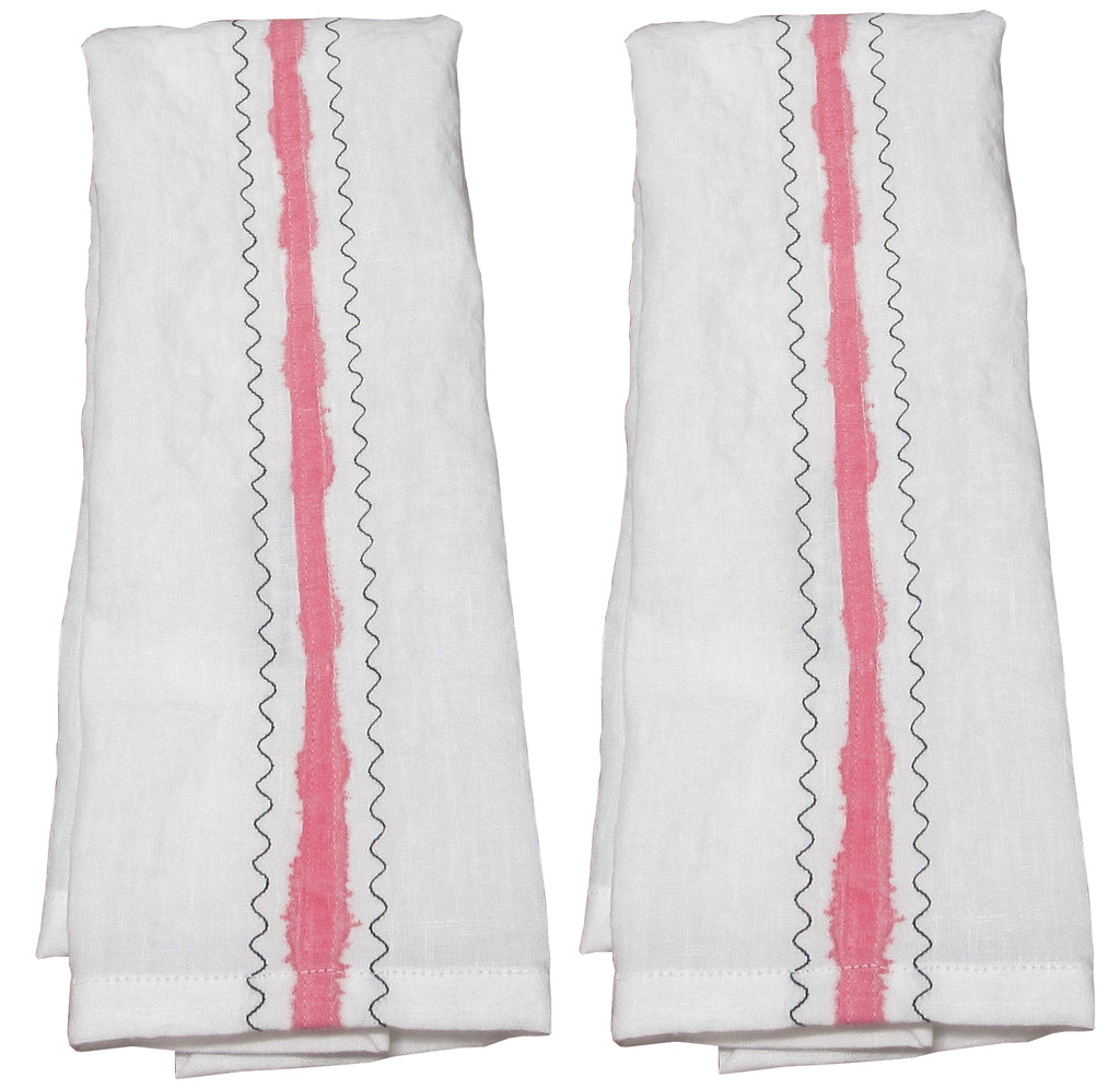 Flat-felled White Linen Art Towel with Pink Stripe and Black Embroidery - set of 2
