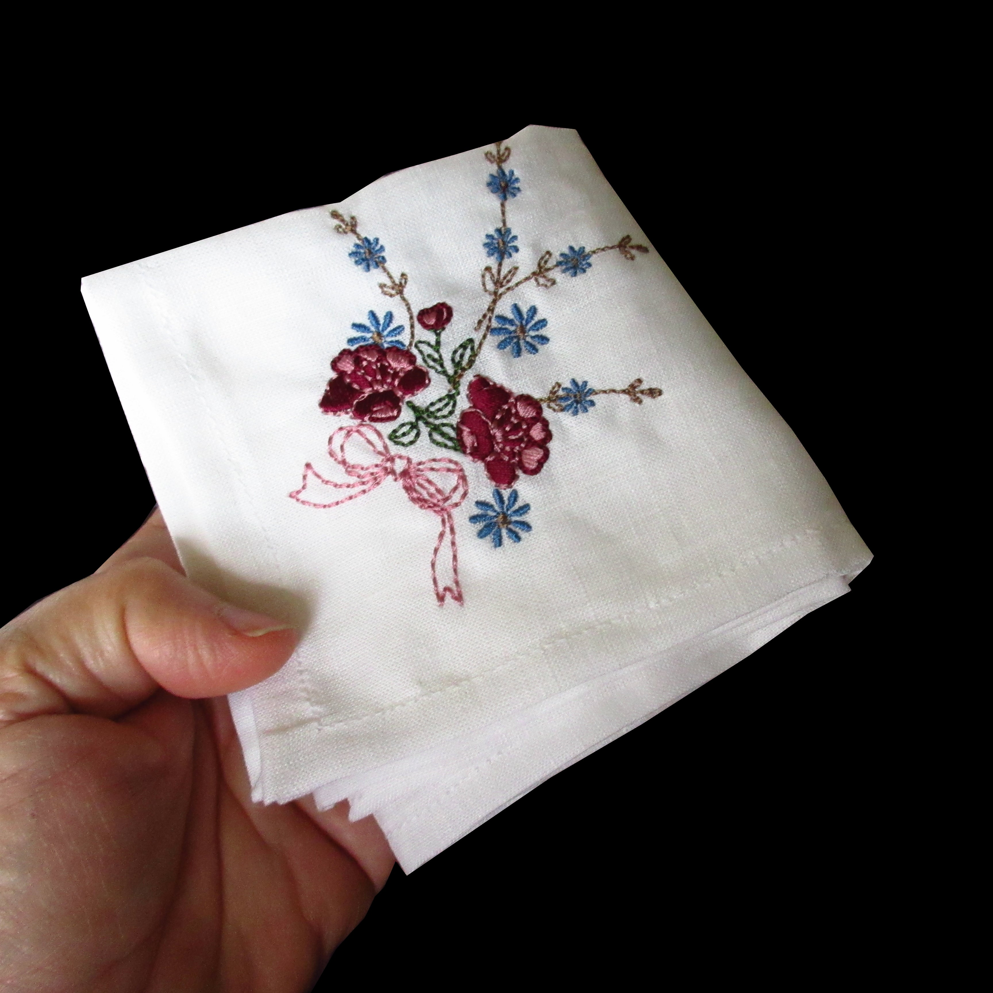 Linen Handkerchiefs Or Napkins With Vintage Floral Embroidery Set Of 3 Handes Of A Woman