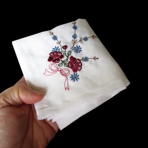 Linen Handkerchiefs or Napkins with Vintage Floral Embroidery-Set of 3