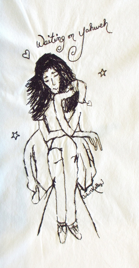 handesofawoman Waiting on Yahweh Cotton Embroidered Towel by Artist Kelly J embroidery detail