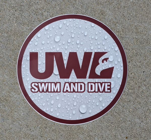 UW La Crosse swim sticker, vinyl, waterproof