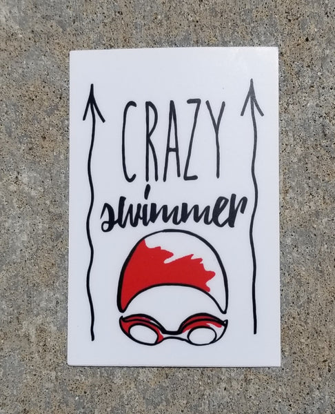 CRAZY SWIMMER swim sticker, vinyl, waterproof