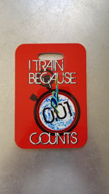 I Train because 0.01 Counts Swim Bag Tag, Sport Bag Tag, triathlon bag, gift - FlipTurnTags