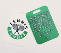 Tennis prayer, tennis player  prayer, tennis Bag Tag, tennis luggage tag
