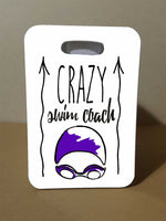 Swim Bag Tag, Crazy Swim Coach, Custom Luggage Tag - FlipTurnTags