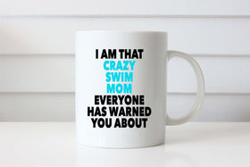 Crazy Swim Mom Coffee Mug, swimmer swim gift. triathlon triathlete gift coffee mug swim christmas gift - FlipTurnTags