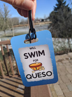 Swim Luggage Tag, Bag Tag,  will Swim for QUESO Sport Bag Tag, Swim Team Bag Tag, Swim Party favor