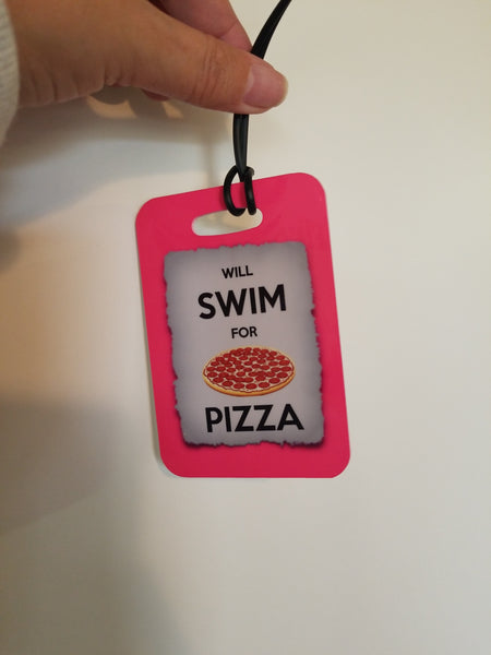 Swim Luggage Tag, Bag Tag,  will Swim for PIZZA, Sport Bag Tag, Swim Team Bag Tag, Swim Party favor