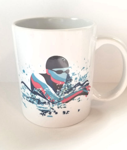 Custom 11oz coffee mug, Swimming, swim BREASTSTROKE