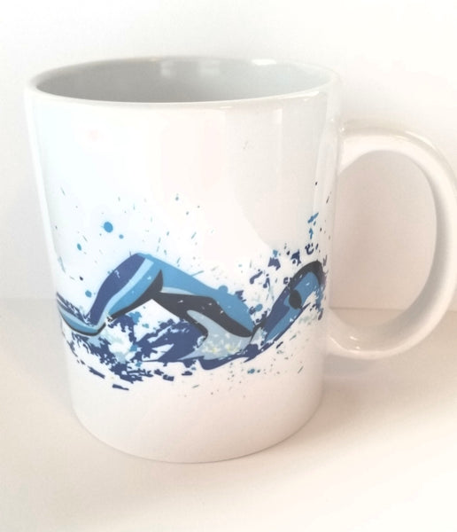 Custom 11oz coffee mug, Swimming, swim Freestyle