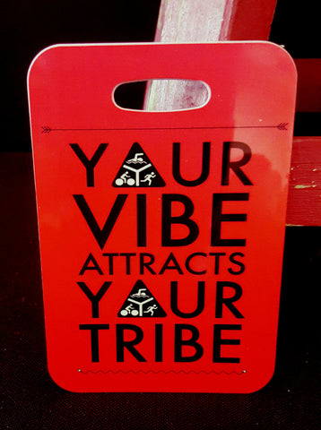 Triathlon Bag Tag, Your vibe attracts your tribe, luggage  gear bag sport tag triathlon gift - FlipTurnTags