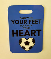 SOCCER Bag Tag, Talk with your feet, play with your heart, soccer gift Luggage Tag - FlipTurnTags