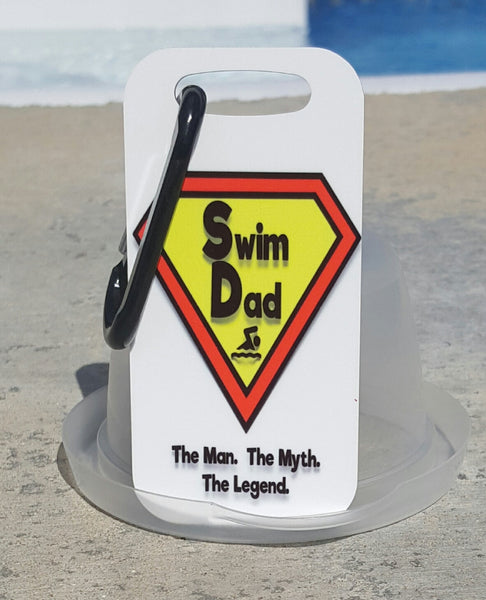 Swim dad Bag Tag, Luggage Tag, Swim dad gift idea, Swimmer, Swim gift, Swim coach - FlipTurnTags