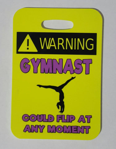 Warning Gymnast Could Flip Bag Tag - FlipTurnTags