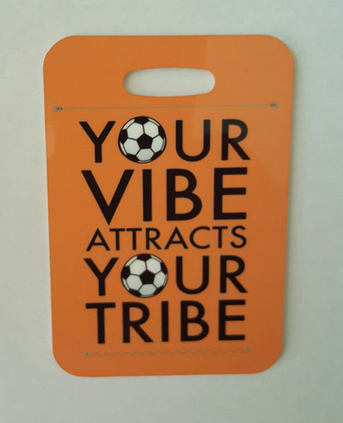 SOCCER Bag tag, Your vibe attracts your tribe, soccer gift Luggage Tag - FlipTurnTags