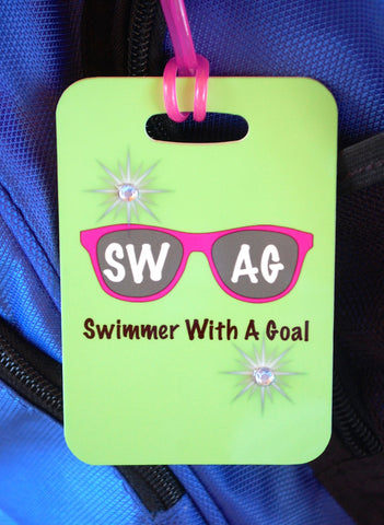 SWAG Swimmer With A Goal Swim Bag Tag, Sport Bag Tag, Swim Team Bag Tag, Swim Party favor - FlipTurnTags