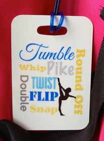 Gymnastics Bag Tag, Sport Bag Tag,Tumble Bag Tag, Party favor - FlipTurnTags