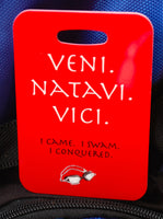 Swim Bag Tag, Sport Bag Tag, Swim Team Bag Tag, Swim Party favor, Triathlon, Veni. Natavi. Vici - FlipTurnTags