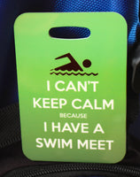 Swim Bag Tag, Sport Bag Tag, Swim Team Bag Tag, Swim Party favor, Triathlon, I Can't Keep Calm, I Have a Swim Meet - FlipTurnTags