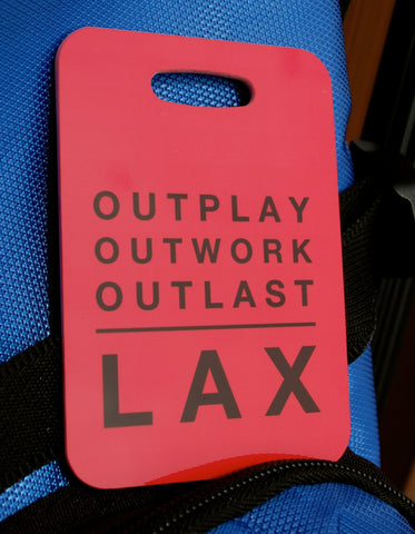 Lacrosse LAX Bag Tag Sport Tag Outplay Outworkt Outlast Luggage Tag - FlipTurnTags