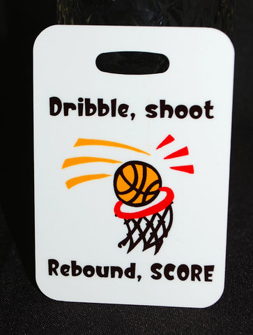 Dribble, shoot rebound, score basketball Bag Tag, Sport Bag Tag, Basketball Team, Basketball Party favor Basketball gift - FlipTurnTags