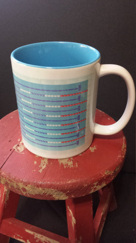 Swim Lane lines custom 11oz coffee mug - FlipTurnTags
