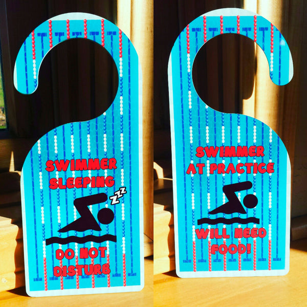 ONE swim door hanger christmas gift, Swim Coach Gift, Swim Team Gift, Swimmer gift, Triathlon Gift, Triathlete Gift, custom swim gift - FlipTurnTags