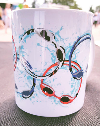 Swim goggles, swimmer triathlon triathlete mug coffee mug swim  swimmer christmas gift, swim coach gift - FlipTurnTags