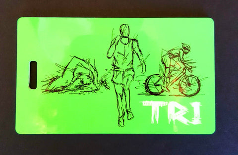 Triathlon Triathlete Bag Tag swim luggage tag - FlipTurnTags