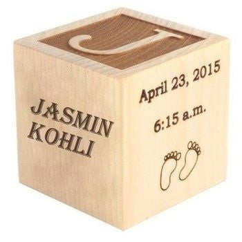 Personalized Engraved Wooden Cube - HandmadeJunction.in