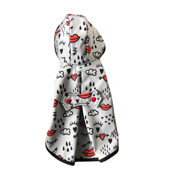 Red Lips Raincoat - Water Resistant - Ruff Stitched