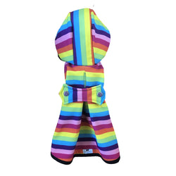 Rainbow Stripes Raincoat - Water Resistant - Ruff Stitched