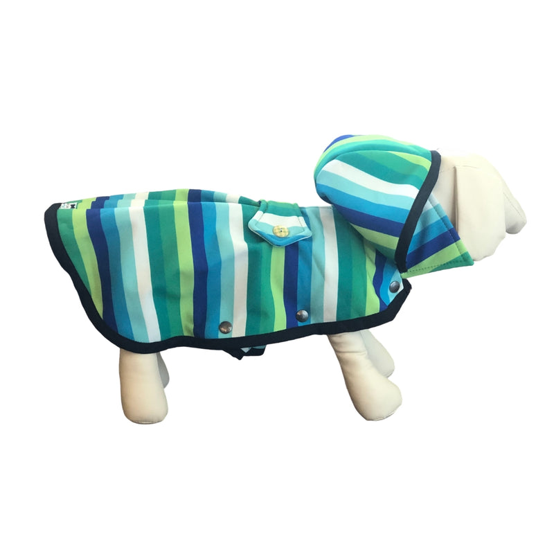 Blue Rainbow Stripes Raincoat - Water Resistant - Ruff Stitched