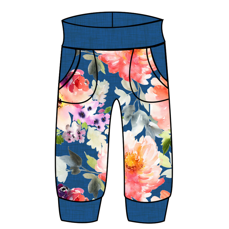 Grow With Me Joggers Blue Linen Floral - Ruff Stitched