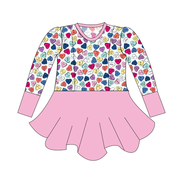 Grow with Me Peplum Be Mine Conversation Hearts - Ruff Stitched