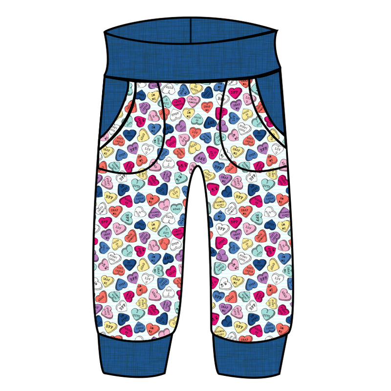 Grow With Me Joggers Be Mine Conversation Hearts - Ruff Stitched